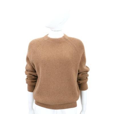 THE ROW 喀什米爾粗坑條針織咖棕色羊毛衫(展示品/缺吊牌)
