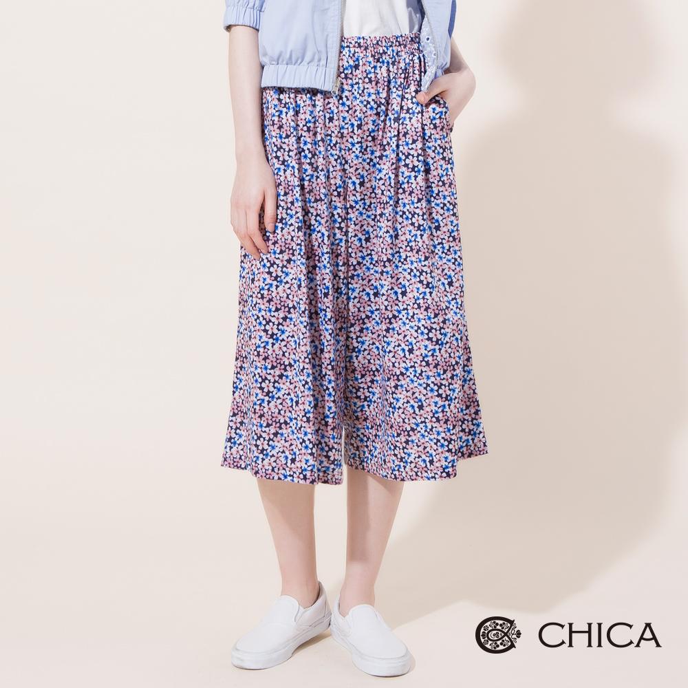 CHICA 繽紛落花碎花打褶鬆緊寬管褲(2色)