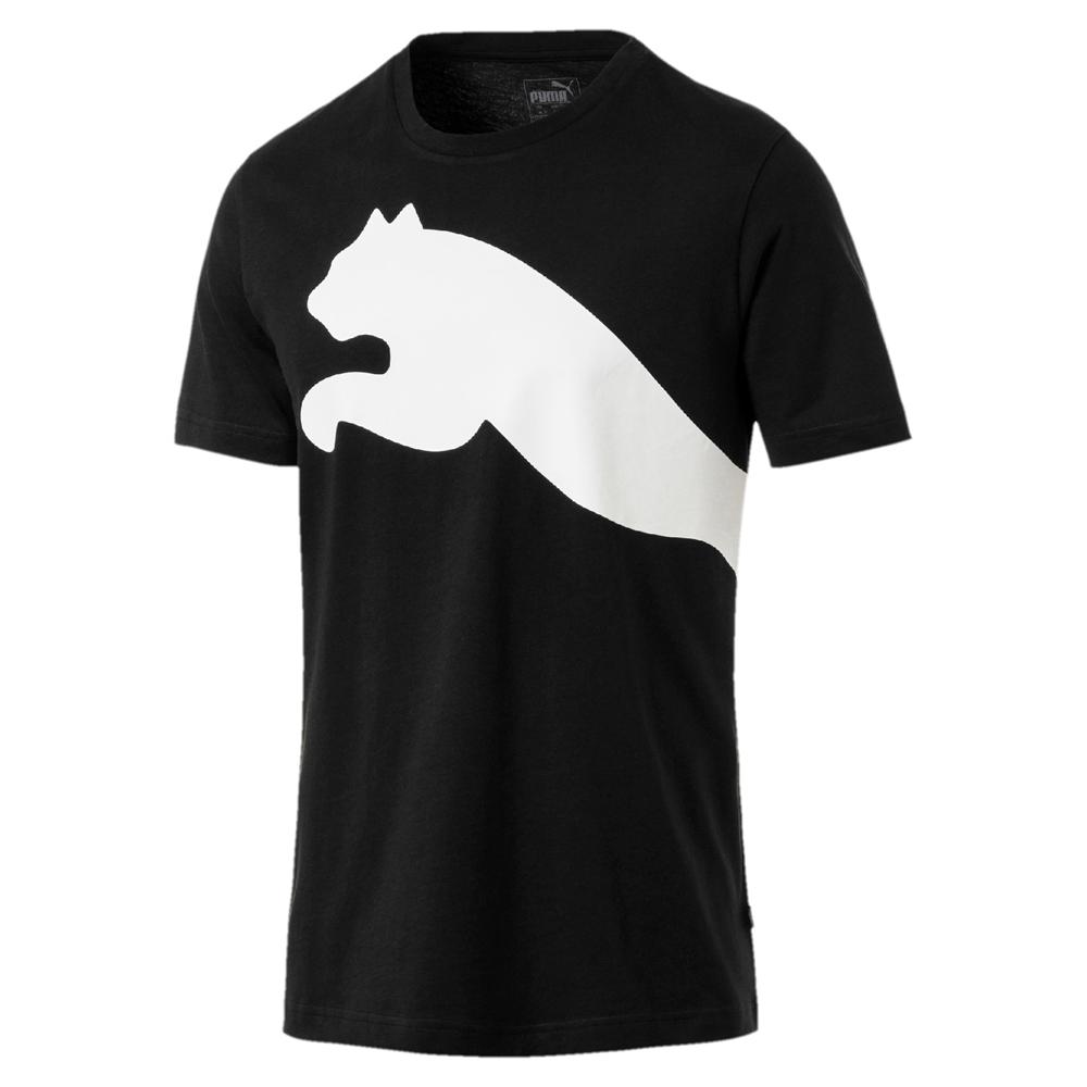 PUMA-男性基本系列寬版Logo短袖T恤-黑色-亞規
