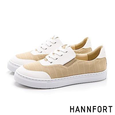 HANNFORT CAMPUS 簡約線條帆布鞋-女-米白