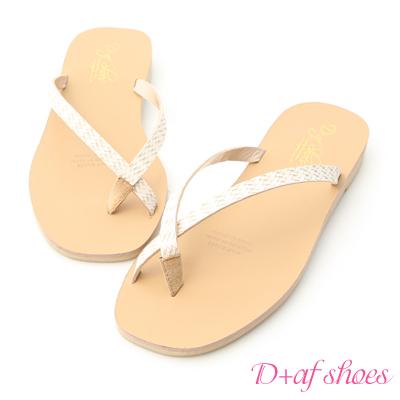 D+AF 簡約夏氛.編織皮面夾腳涼拖鞋*米