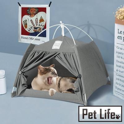 Pet Life 折疊可拆洗棉麻寵物帳篷/小型貓狗遊戲屋/貓狗窩