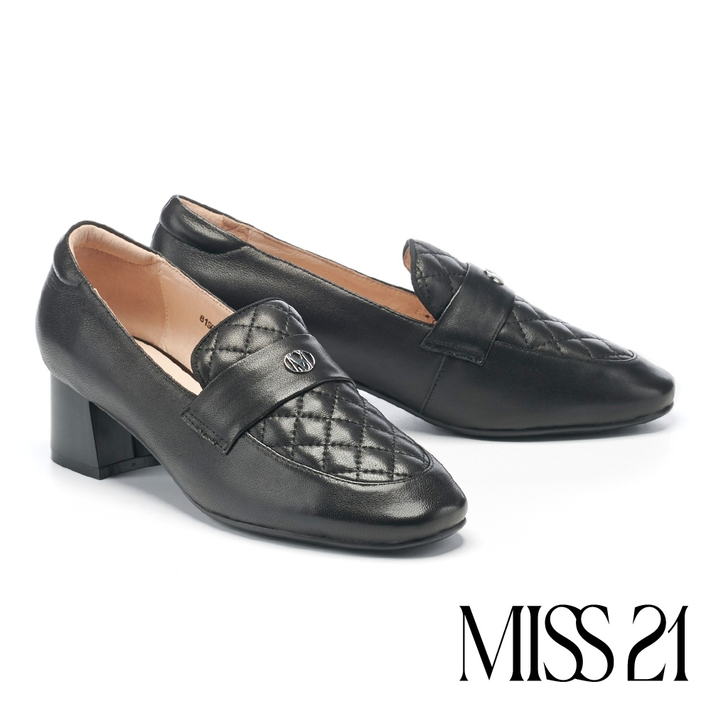高跟鞋 MISS 21 百搭小時髦學院風菱格紋樂福高跟鞋-黑