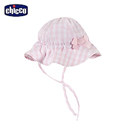 chicco-蜜粉格-格紋綁帶帽