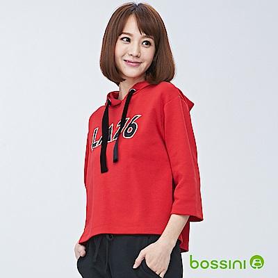 bossini女裝-連帽厚棉上衣01暗紅