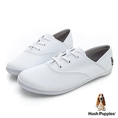 Hush Puppies 熱銷基本款★咖啡紗皮質休閒鞋-白色