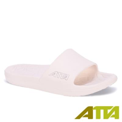 ATTA 舒適幾何紋室外拖鞋-白色
