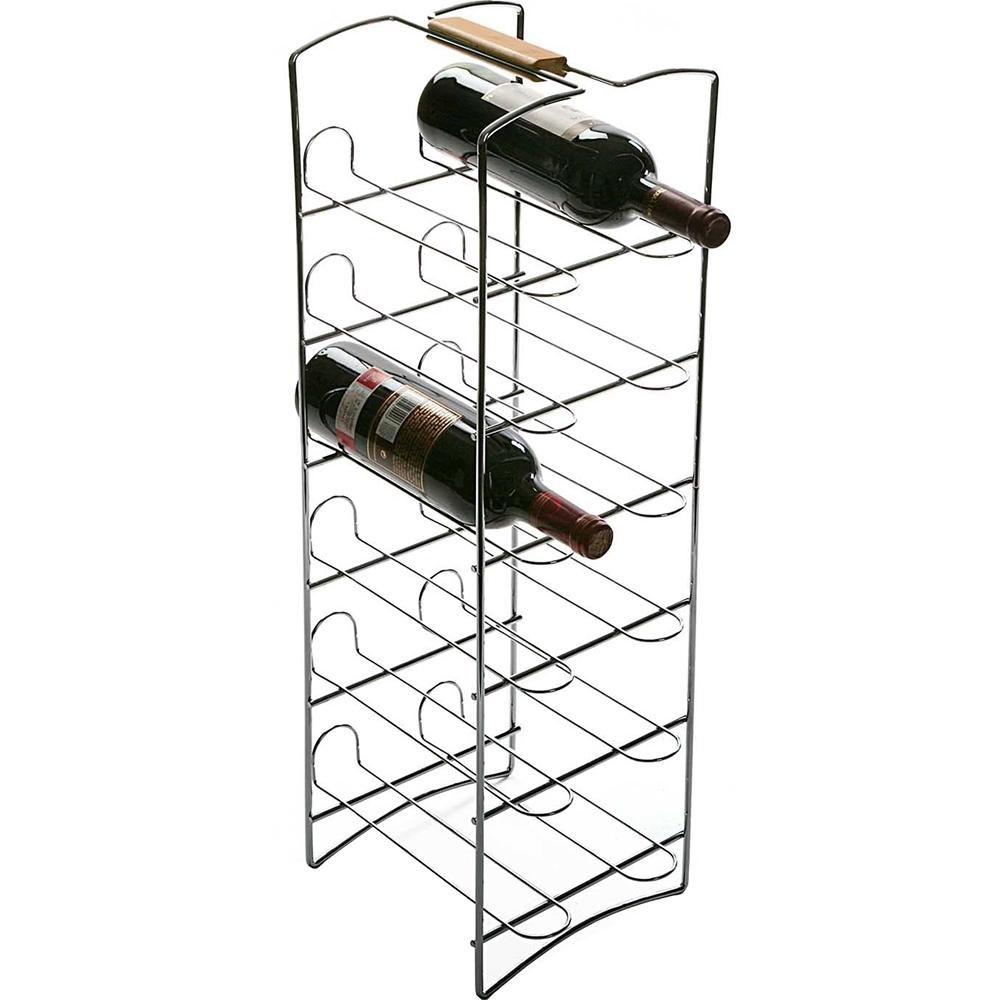 《VERSA》木柄不鏽鋼酒架(12格)