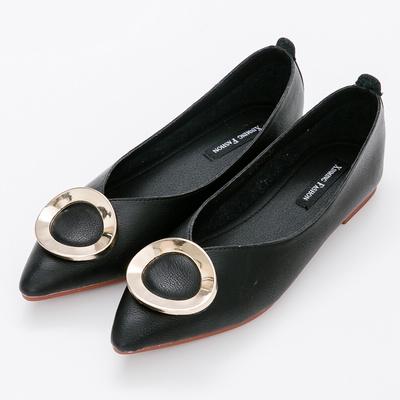 River&Moon中大尺碼-超纖金扣Q軟橡膠平底尖頭鞋-黑
