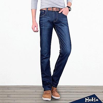 男士薄款直筒牛仔長褲 藍色-HeHa