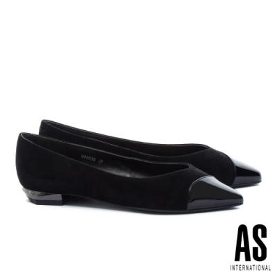 低跟鞋 AS 純熟韻味異材質拼接全真皮尖頭低跟鞋-黑