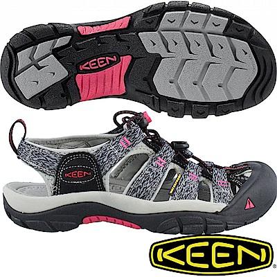 KEEN 1016288黑/灰 NewPort H2 女戶外護趾涼鞋/溯溪鞋