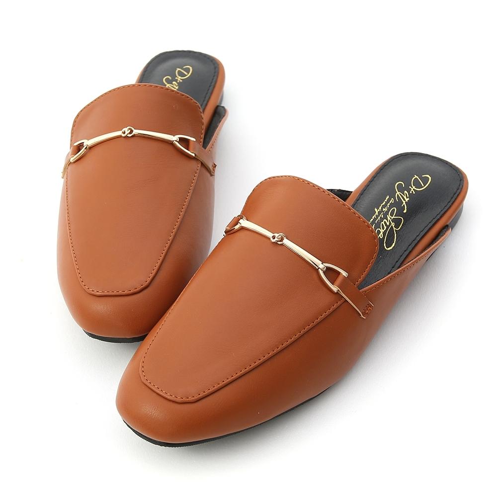 D+AF 百搭滿分.馬銜釦平底穆勒鞋*棕