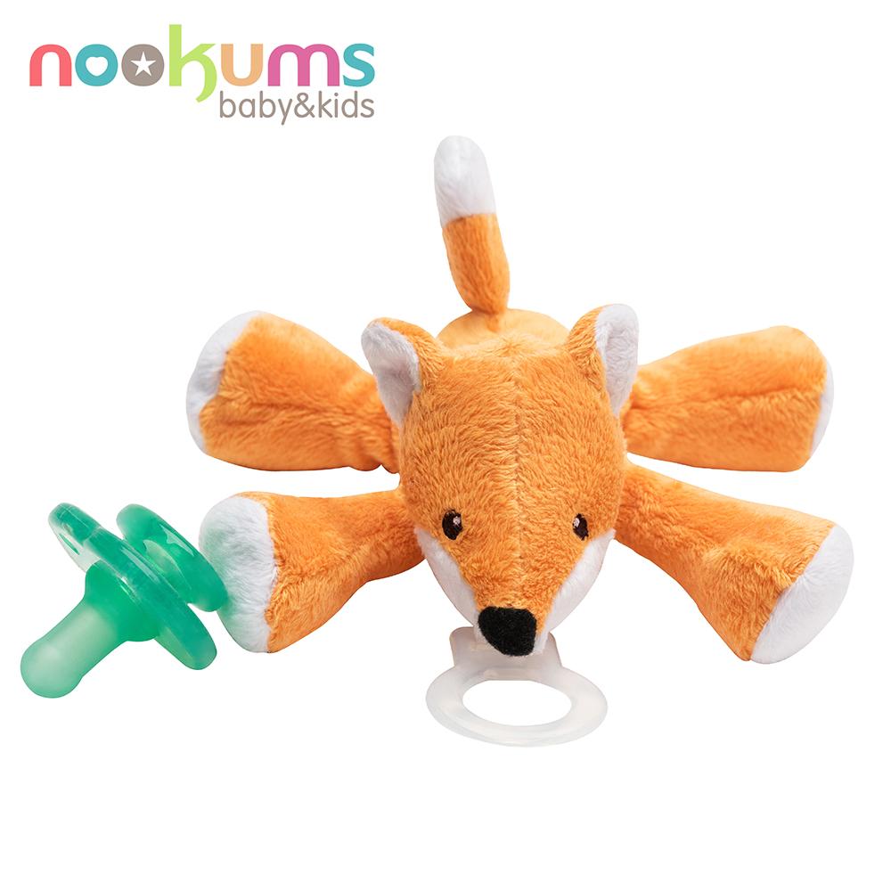 美國 nookums 寶寶可愛造型搖鈴安撫奶嘴/玩偶-小狐狸
