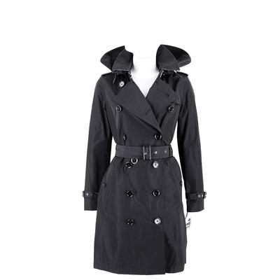 BURBERRY Trench 可拆式連帽塔夫綢風衣(黑色)