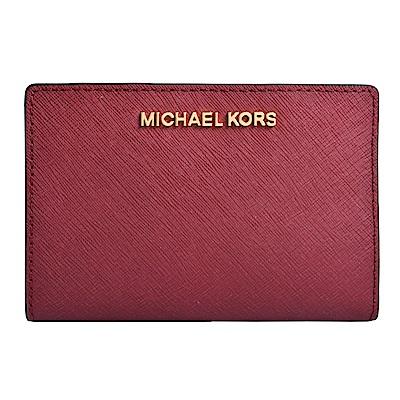 MICHAEL KORS JET SET金字LOGO防刮皮革證件卡夾(附名片夾)-酒紅