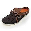 (男)Ponic&Co美國加州環保防水洞洞半包式拖鞋-深咖啡