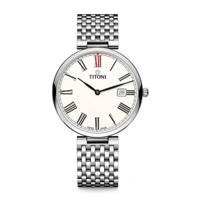 TITONI瑞士梅花錶 纖薄系列機械錶(82718 S-608)-白面鋼帶/39mm