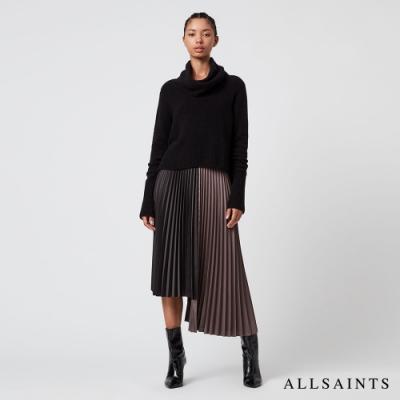 ALLSAINTS JESSIE 優雅迷人不規則下擺兩件式中長版連身裙洋裝-黑/暗粉紅