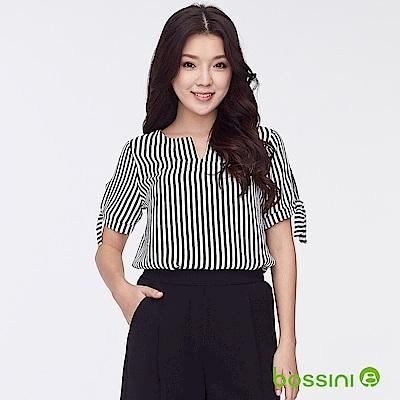 bossini女裝-圓領開襟造型上衣02黑白