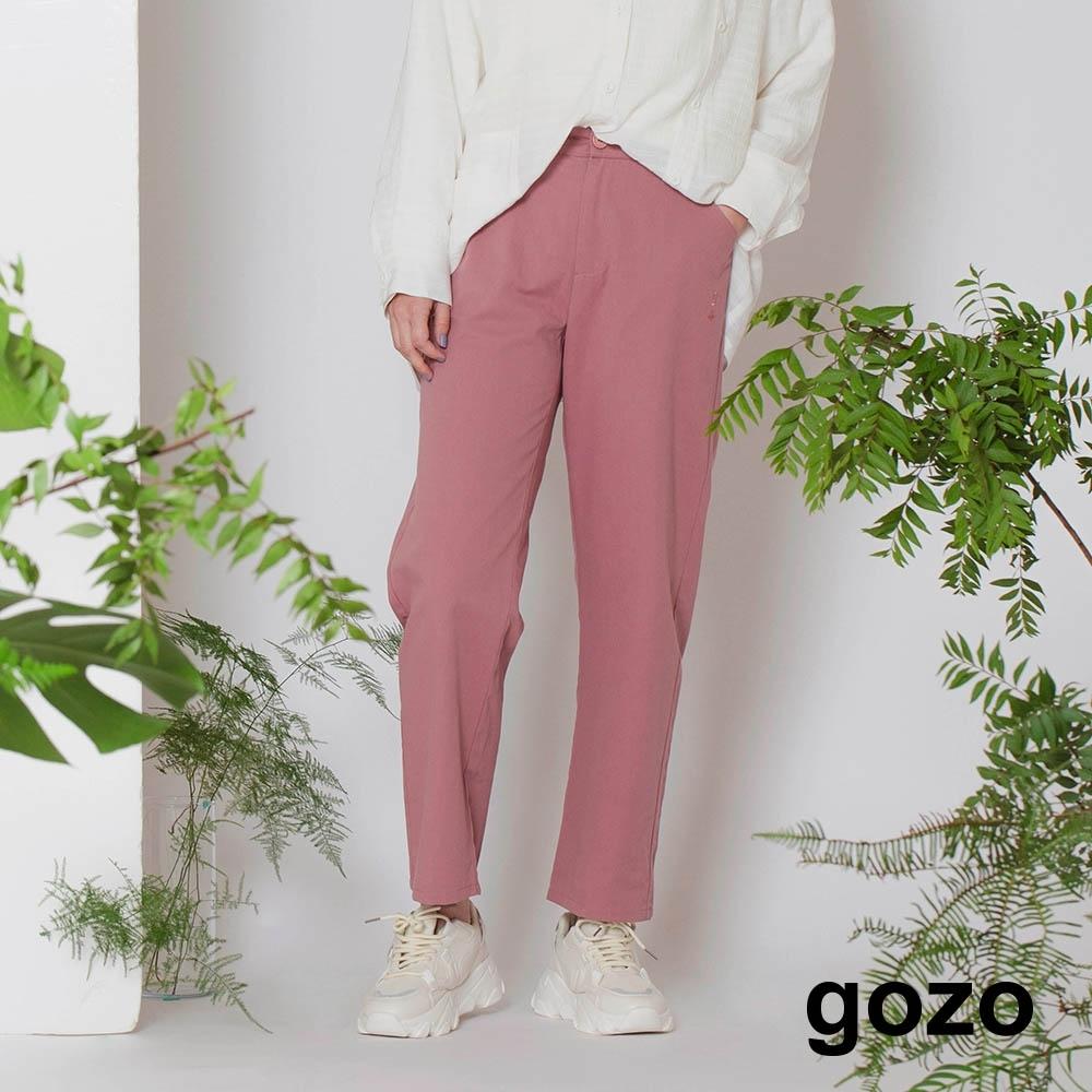 gozo-純棉繡花寬版直筒褲(兩色)