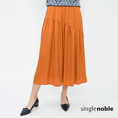 獨身貴族 玩美奢華緞面拼接抓皺長裙(3色)