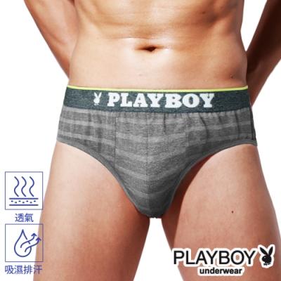 PLAYBOY男內褲 韓系輕時尚條紋三角褲-單件-麻灰