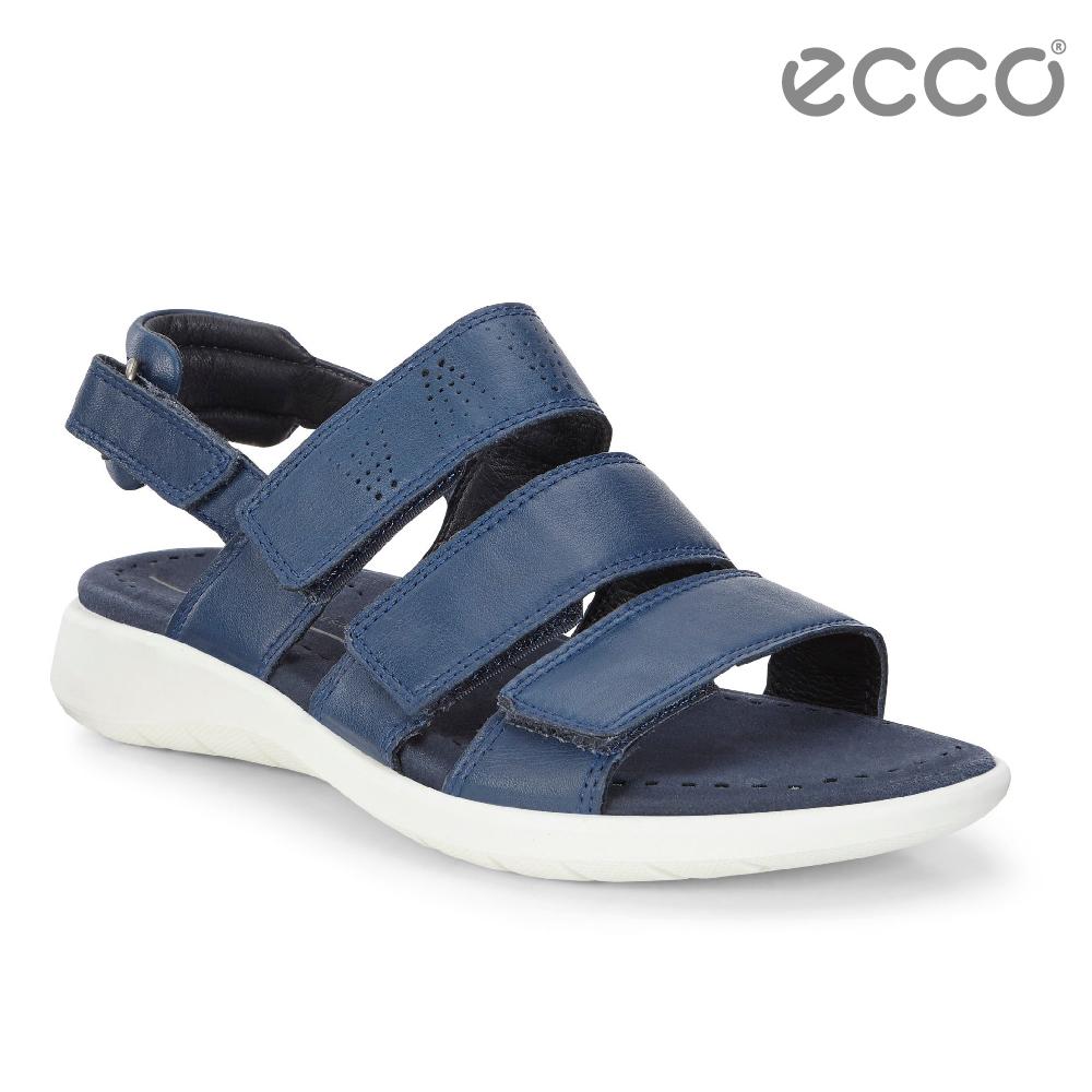 ECCO SOFT 5 SANDAL 魔鬼氈休閒涼鞋-藍