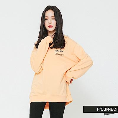 H:CONNECT 韓國品牌 女裝-標語印製長袖上衣-橘