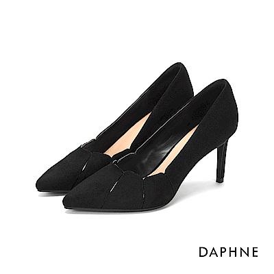 達芙妮DAPHNE 高跟鞋-花瓣拼接絨布尖頭高跟鞋-黑