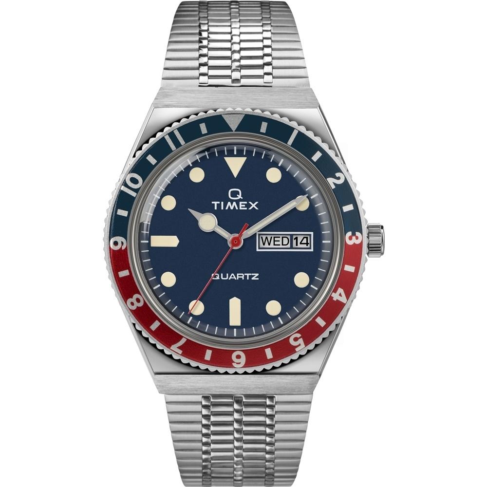 TIMEX 天美時 Q TIMEX復刻系列 經典手錶- 藍紅/38mm