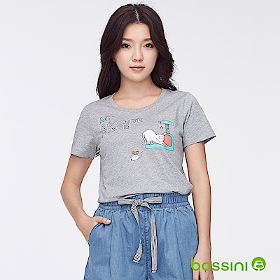 bossini女裝-印花短袖T恤33淺灰
