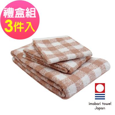 日本今治  純天然有機棉無染色方毛浴巾禮盒組-方格-粉藕紅
