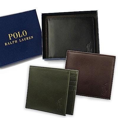 RALPH LAUREN POLO經典壓印馬球LOGO皮革短夾禮盒