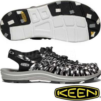 KEEN 1020798黑/白 Uneek Flat Cord女戶外編織涼鞋