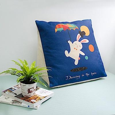 【收納職人】Zakka日系雜貨風棉麻織紋舒壓三角抱枕/靠枕/腿枕(藍底高帽小兔)
