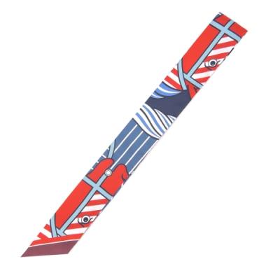 Hermes Quadrige Bayadere 馬頭圖騰twilly絲巾(藍X紅)