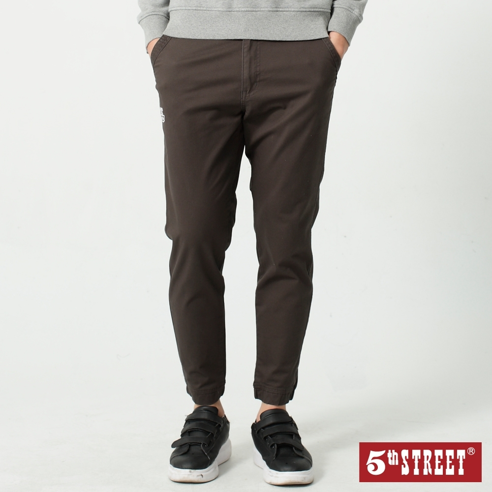 5th STREET 潮系列休閒 窄直筒縮口褲-男-暗灰色