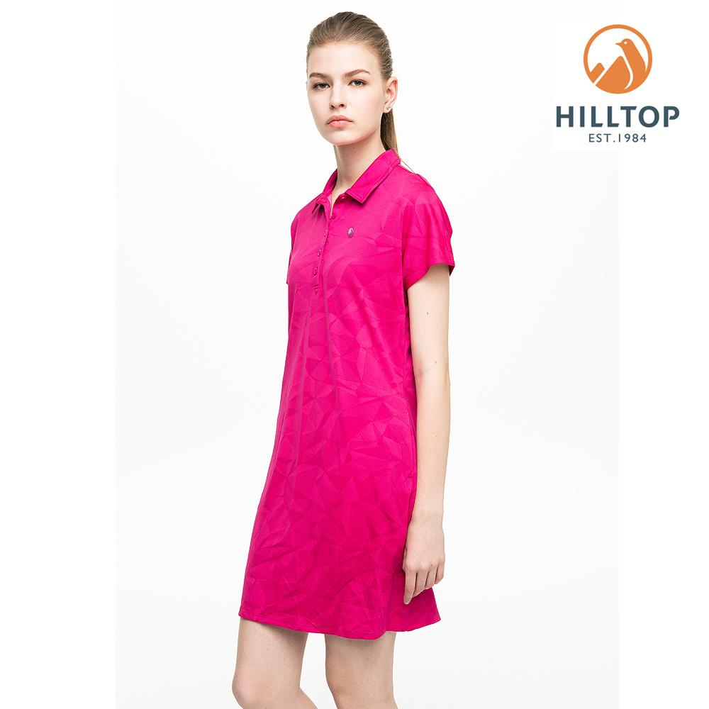 【hilltop山頂鳥】女款吸濕快乾抗UV抗菌長版POLO衫S14FF6螢光粉紅