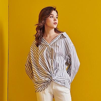 Shester55-扭結造型襯衫(兩色)-女-【RSH069】