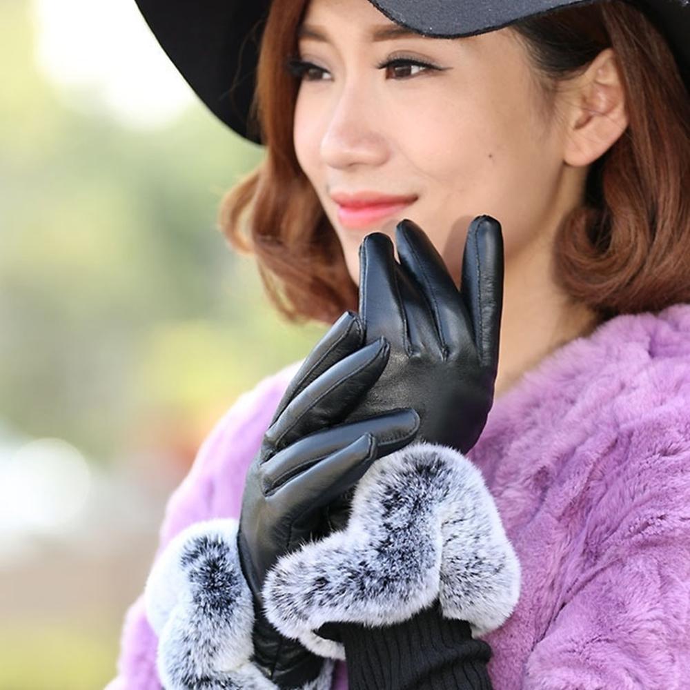 米蘭精品 真皮手套羊皮手套-保暖獺兔毛光面黑色女手套73wf3