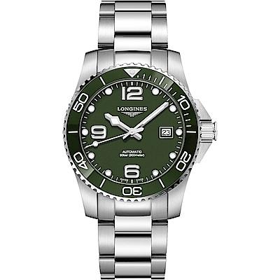 LONGINES 浪琴 深海征服者浪鬼陶瓷潛水機械錶(L37814066)-綠x銀/41mm