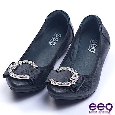 ee9 芯滿益足閃耀星光鑲鑽飾帶娃娃鞋 黑色