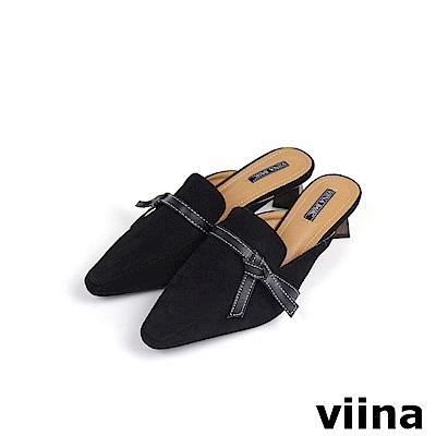 viina Basic黑綁帶木紋跟穆勒鞋 - 黑