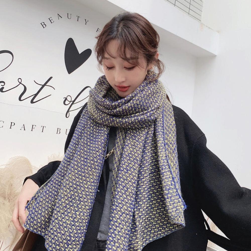 【89 zone】法式優雅千鳥格格子保暖圍巾/披肩(紫)
