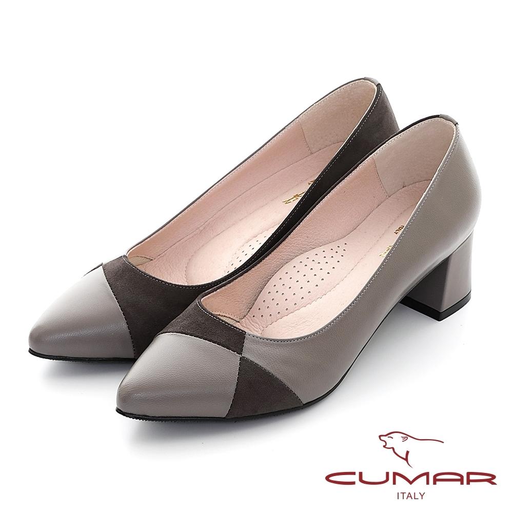 【CUMAR】不對襯異材質拼接尖頭粗跟高跟鞋-可可色