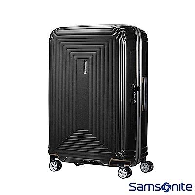 Samsonite 新秀麗 28吋Aspero 耐衝擊線條迴圈PC硬殼行李箱(碳黑)