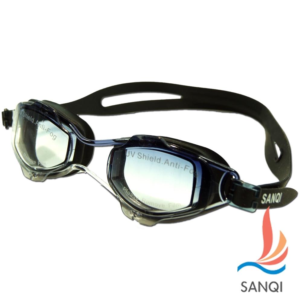 SANQI三奇 夏日必備抗UV防霧休閒泳鏡(2918RS-黑灰F)