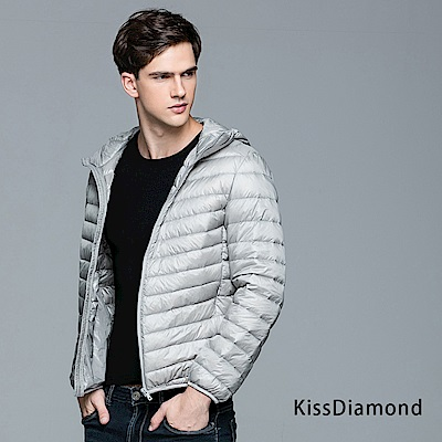 【KISSDIAMOND】SGS認證天然90+羽絨連帽外套男款銀灰
