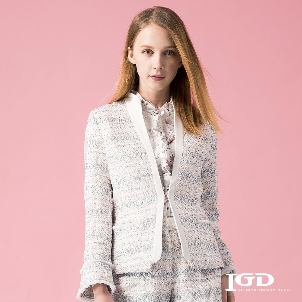 【IGD 英格麗】浪漫橫向織紋小立領外套-粉